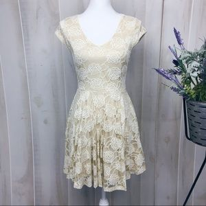 Altar'd State Cream Lace Open Back Flared Dress